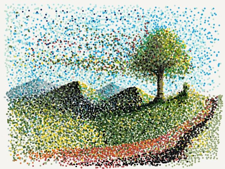 """""""très humble hommage au pointillisme"""" Made With Paper by Bruno LAMY via Twitter"""