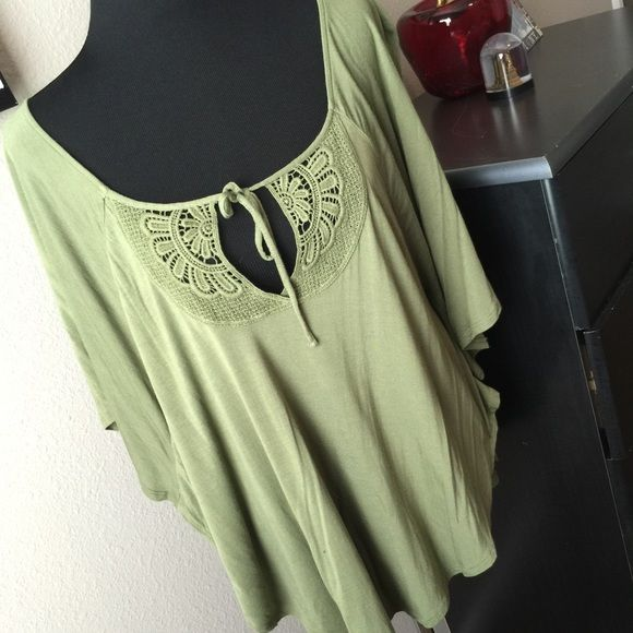 Olive you Batwing top with tie at neckline. Cute top. Purchased from another Posher but it didn't look right on me. Old Navy Tops