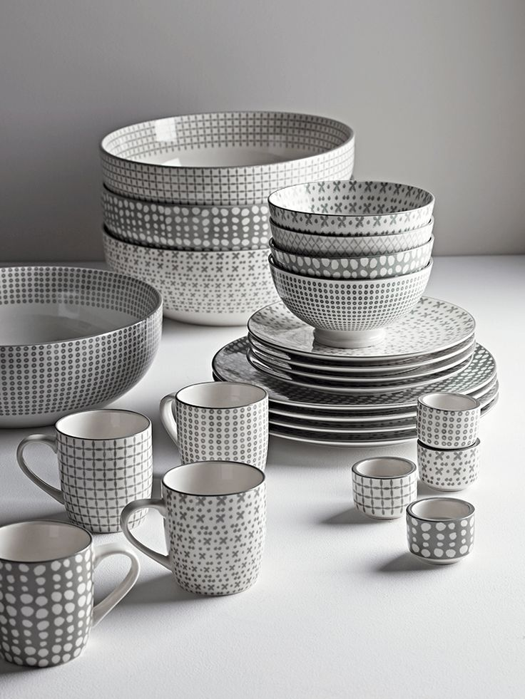 Crafted from porcelain with complementary grey patterns, our Folk Grey Dinnerware is an elegant and eclectic collection of dinner plates, side plates, cereal bowls, mugs and egg cups. Beautifully simple in their design, each set contains one each of the following patterns: Cross, Dot & Cross, Speckled and Dotty.
