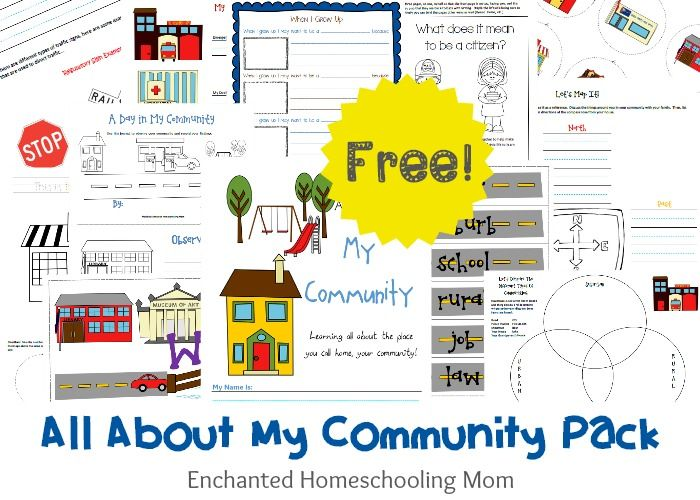 This comprehensive FREE All About My Community Printable Pack, from Enchanted Homeschool mom, will help teach your child or st