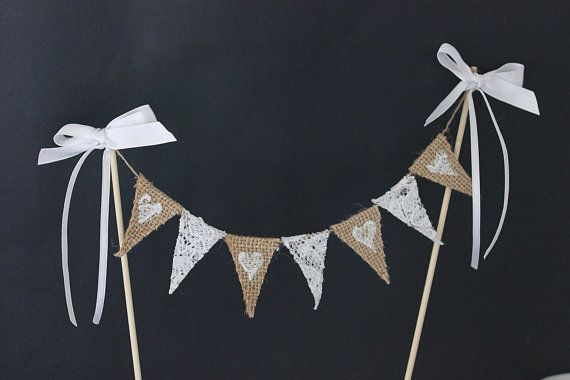 Burlap and lace wedding cake topper - hessian and lace mini bunting with white lace hearts embellished with glitter and white satin ribbon on Etsy, €14.80