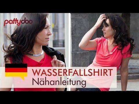 ▶ Shirt mit Wasserfallausschnitt nähen lernen - YouTube