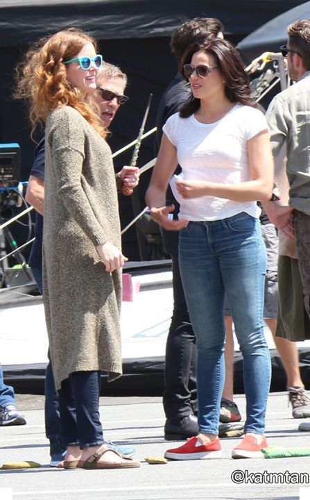 Awesome Lana and Rebecca (Bex) (Regina and Zelena) Zelena possibly made Regina drop the wand/dagger #Once #BTS the awesome Once S5 premiere E1 #DarkSwan #Steveston Village Vancouver BC Friday 7-17-15