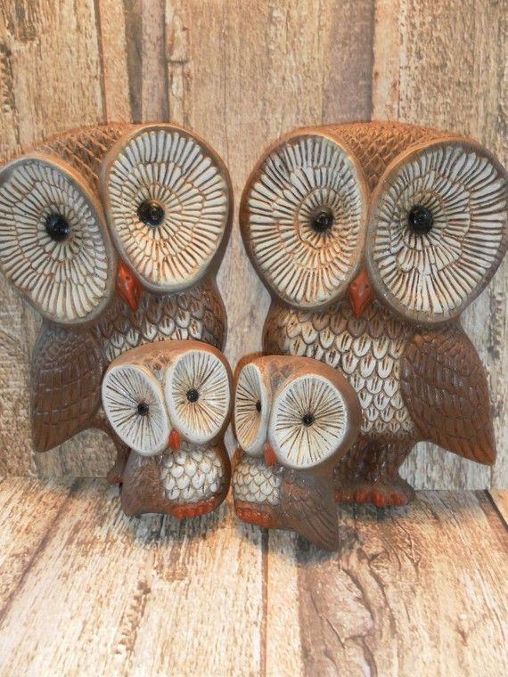 1970s Vintage Owl Home Decor Plaques by ItsAllTreasure on Etsy