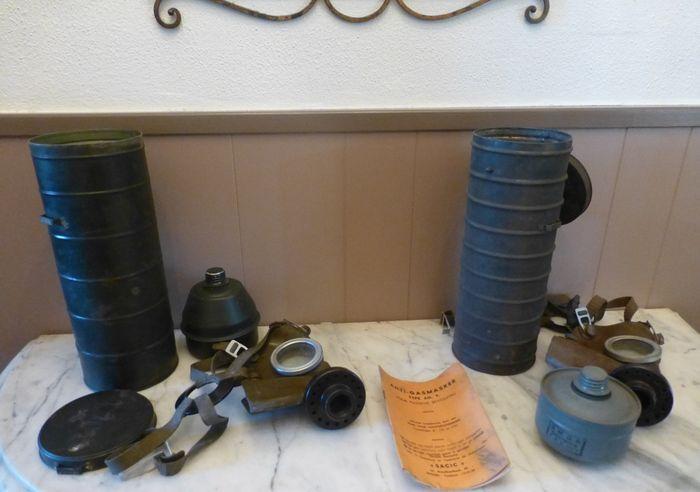 Online veilinghuis Catawiki: Lot van 2 Belgische gasmaskers - WO2