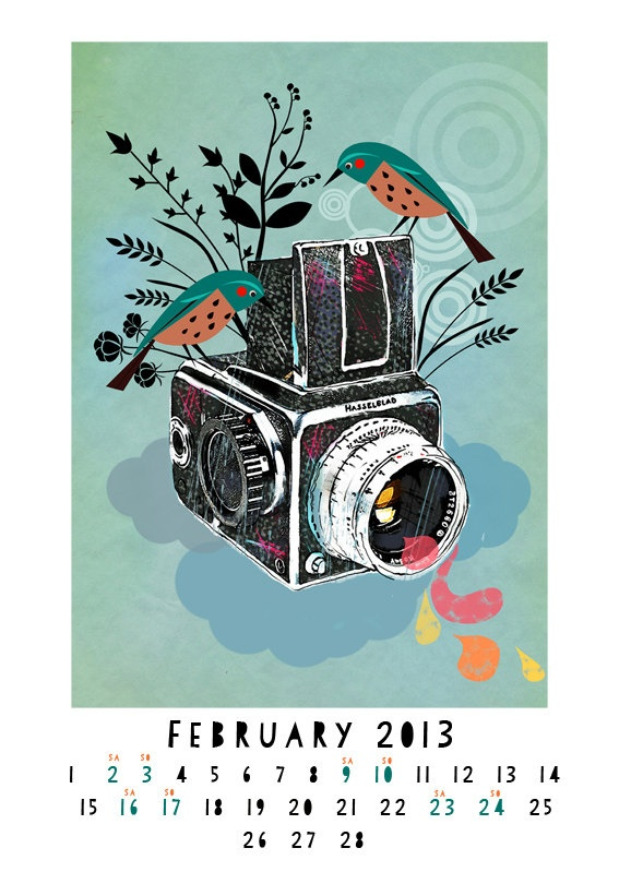 Vintage Cameras illustrated Wall Calender 2013-very limited edition of 70. $26.00, via Etsy.