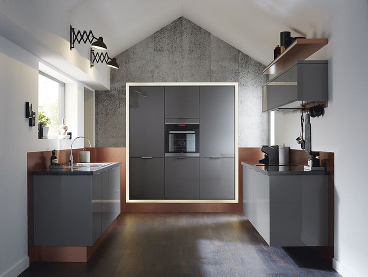 Greenwich gloss slate grey a slab door design that can for Black kitchen carcasses