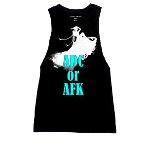 """Just made some t-shirt design..^^ Armhole tank top #Jinx """"ADC or AFK"""""""