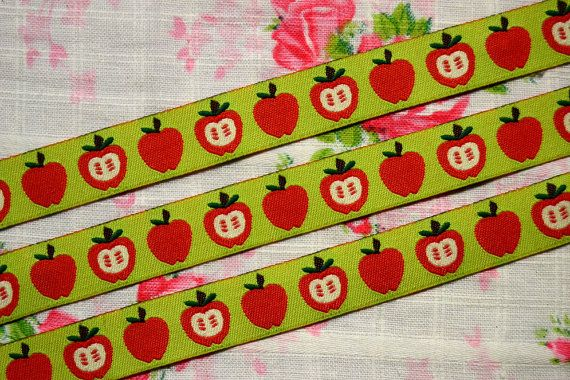 Apple Ribbon  Sewing tape 1 meter3937 inch by NamiSupplies www.taikalandia.com https://www.etsy.com/shop/NamiSupplies
