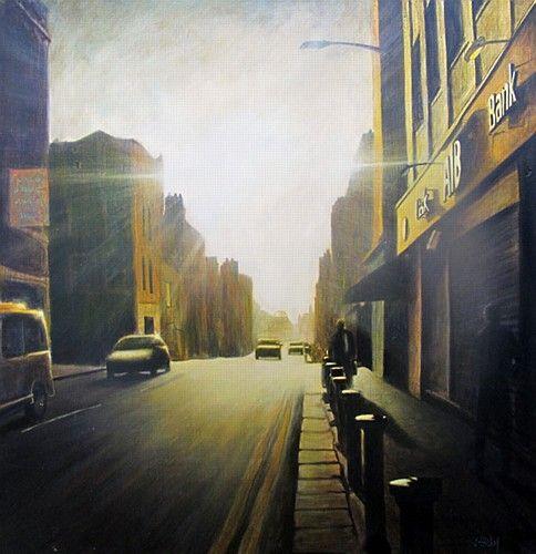 "Joby Hickey ""Baggot Street"" #irishart #painting #dublin #baggotstreet #aib #photorealism #edwardhopper #jobyhickey #dukestreetgallery"