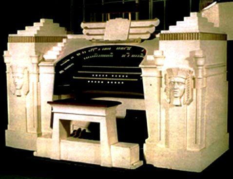 Egyptian motif organ, Pyramid Theatre, Sale near Manchester. The Lancastrian Theatre Organ Trust.