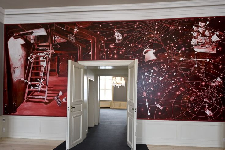 Artist Morten Schelde's work decorates the palace reception chamber. There is often a sense of surreality to the artist's images, like this large wall to wall figural and abstract crimson-coloured artwork. The painting contains references to the Galathea research expedition's navy vessel, 'Vædderen', that the Crown Prince and the artist were on board.