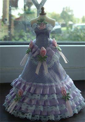 Lilac Mist : Lilac 1/12th scale dupion silk ballgown.