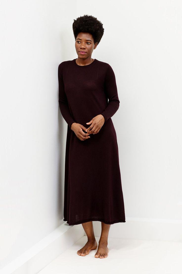 Alicia merino dress in Islington brown | Arela