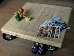Steigerhouten salontafel | salontafel grote wielen | de Steigeraar