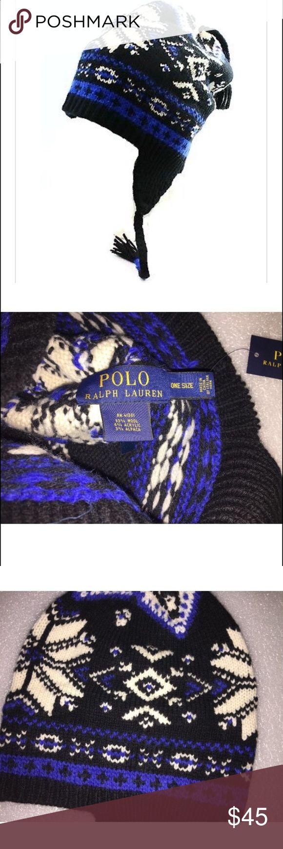 POLO RALPH LAUREN NEW Black One Size Beanie POLO RALPH LAUREN NEW Black One Size Beanie Snowflake Wool Winter Hat Polo by Ralph Lauren Accessories Hats