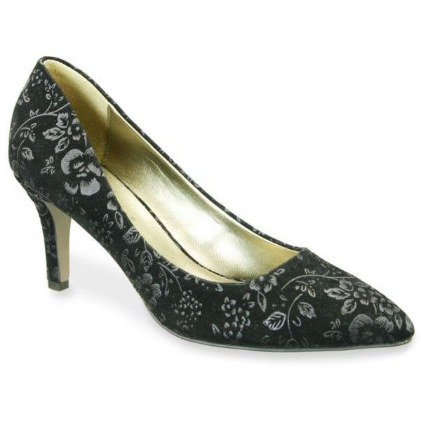 David Tate Black Opera Pump - Women's ($115) ❤ liked on Polyvore featuring shoes, pumps, black, cushioned shoes, suede leather shoes, floral shoes, flower print pumps and black floral pumps