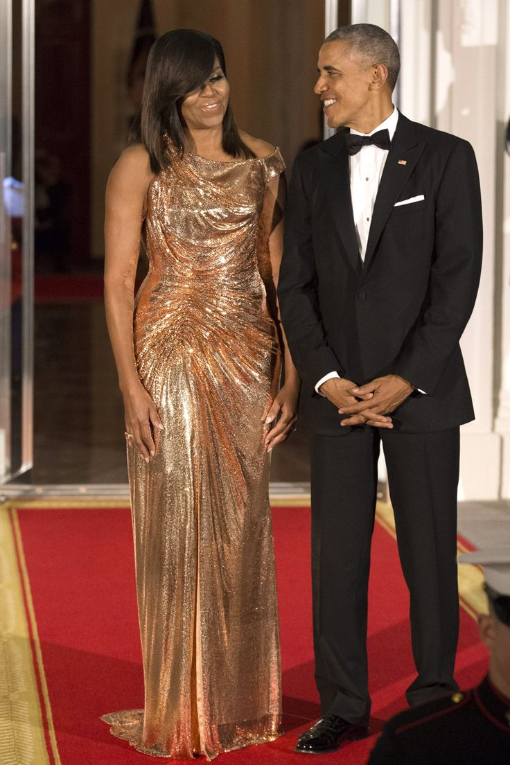 Michelle Obama Dazzles in Rose Gold Atelier Versace for Final State Dinner