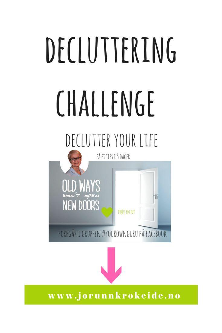 Er du klar for en opprydning på alle plan?  Denne uka kjører jeg gjennom en decluttering challenge på med 5 rydde steg  Du får et tips for hver dag i 5 dager Fysisk, emosjonelt og mentalt