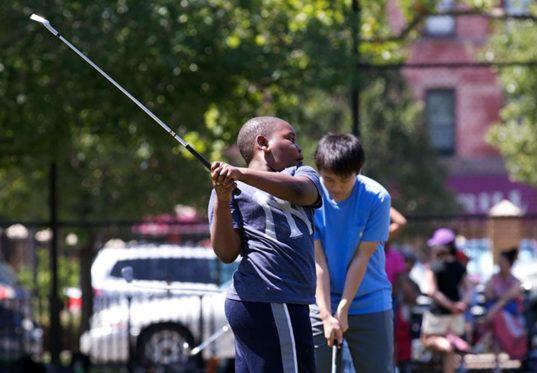 heather lubov, city parks foundation, baseball diamonds transformed into golf schools, golf school nyc, nyc golf, urban golf range, golf range nyc, adaptive reuse