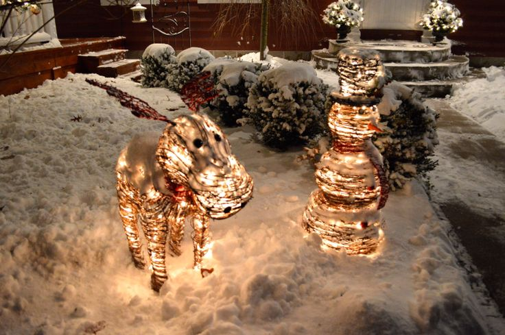 Rattan Snowman and Moose Outdoor Christmas Decorations with White - moose christmas decorations