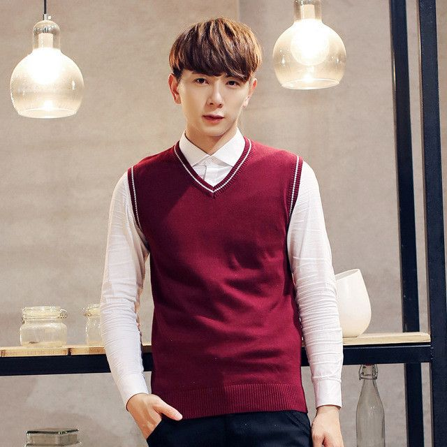 Spring 2017 men's fashion boutique pure color leisure v-neck sleeveless sweater Male slim Business casual knitting sweater vest