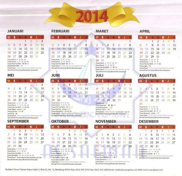 Kalender Puasa Sunnah 2014 | Rohani