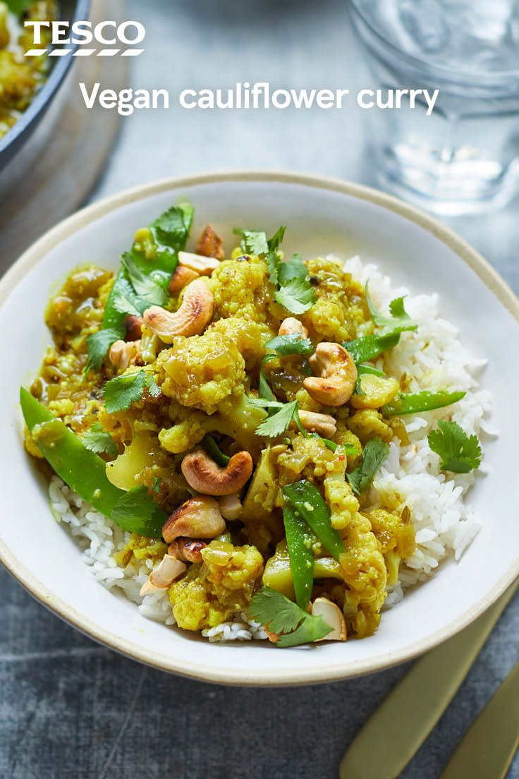 This easy vegan cauliflower curry recipe packs in flavour with warming spices, cool, creamy coconut and burst of vibrant yellow turmeric. Topped with crunchy cashews, this one-pan curry recipe is sure to be a new veggie favourite. | Tesco