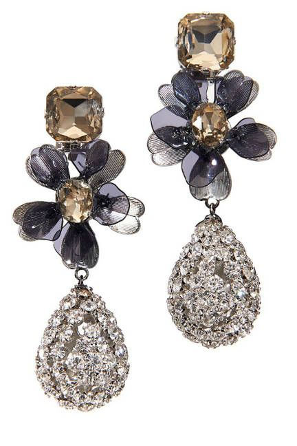 Get ultra-girly in floral Tory Burch earrings and a chic chignon