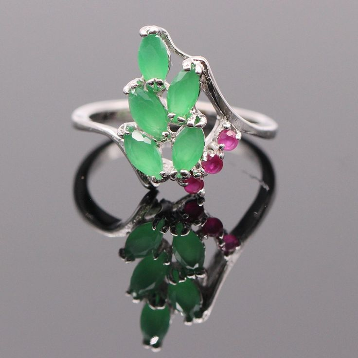Engagement Wedding Finger Rings lab-created Emerald Ruby Ring Fashion Jewelry White Gold Plated G05-1