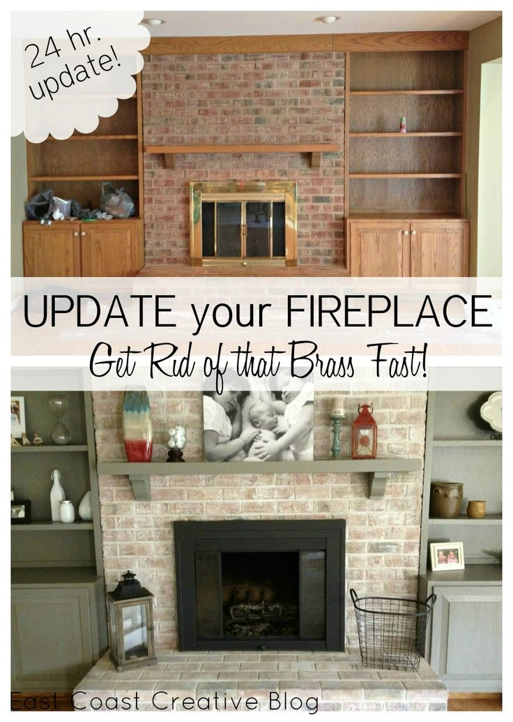 Fireplace makeover including painted mantel and shelves, white washed brick and spray painted brass surround  I so need to do this!