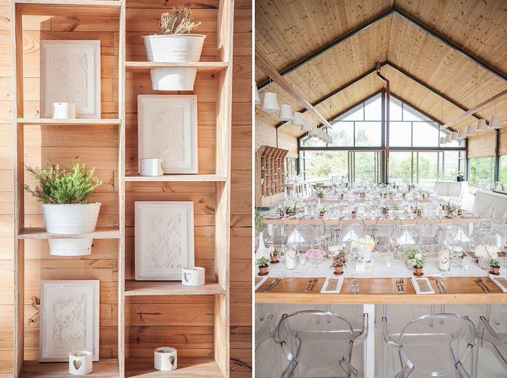 Glass, wood, copper & white wedding