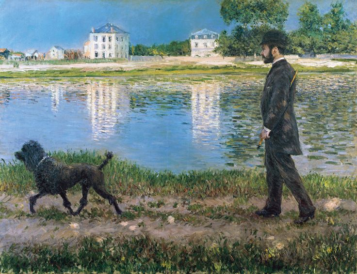 gustave caillebotte | Richard Gallo and His Dog at Petit Gennevilliers