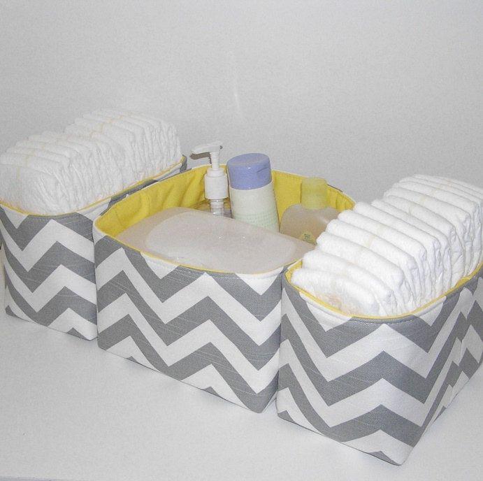 3 Piece Set ... White and Gray Slub Chevron Organizer Bin Diaper Caddy with Yellow Accent. $48.00, via Etsy.