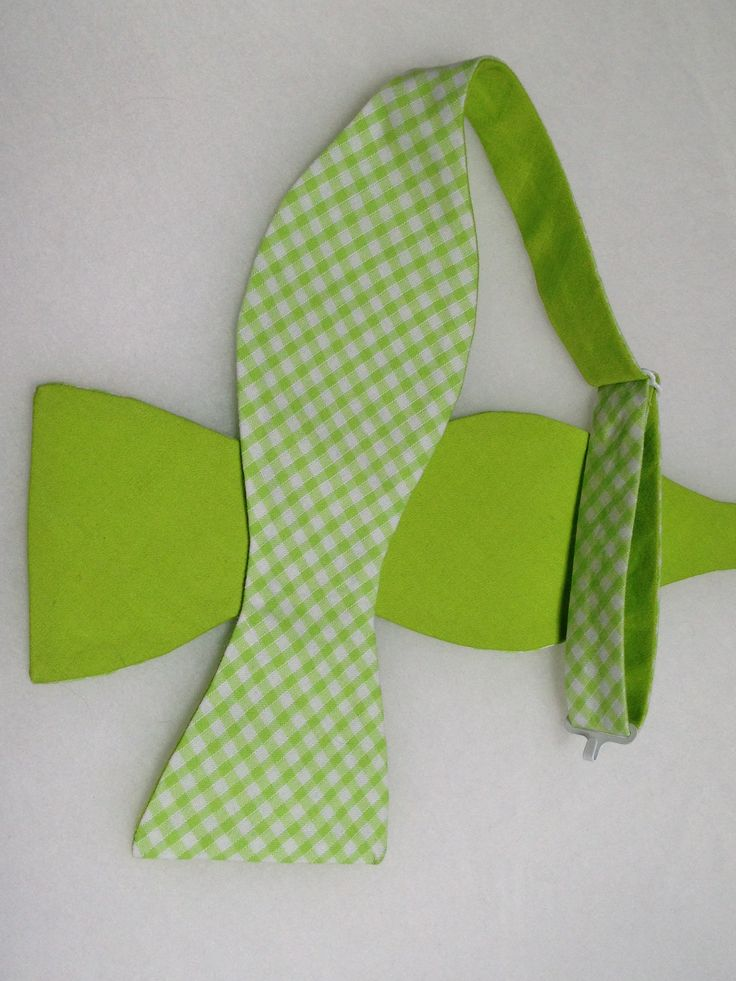 Double Sided, Lime Green Bow Tie, (Self-Tie)