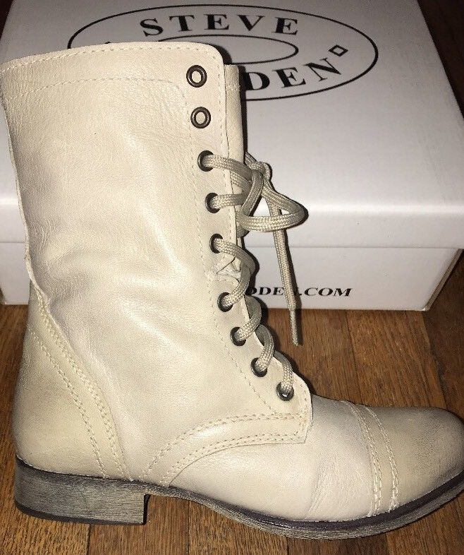 fe6050f76df Steve Madden Womens Troopa Leather ZIP/Lace Distressed Combat Boots ...