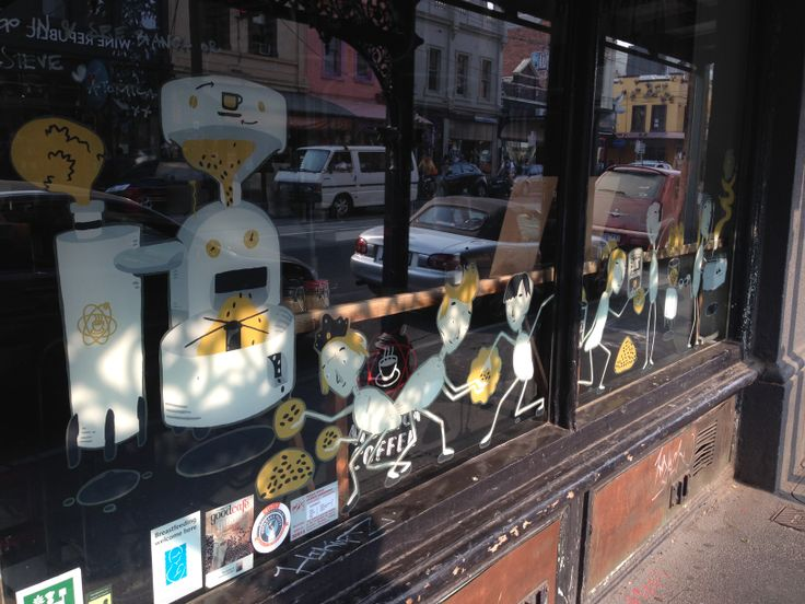 Even the shop-windows display #streetart in #Fitzroy, #Melbourne. This #coffee shop display on Brunswick Street