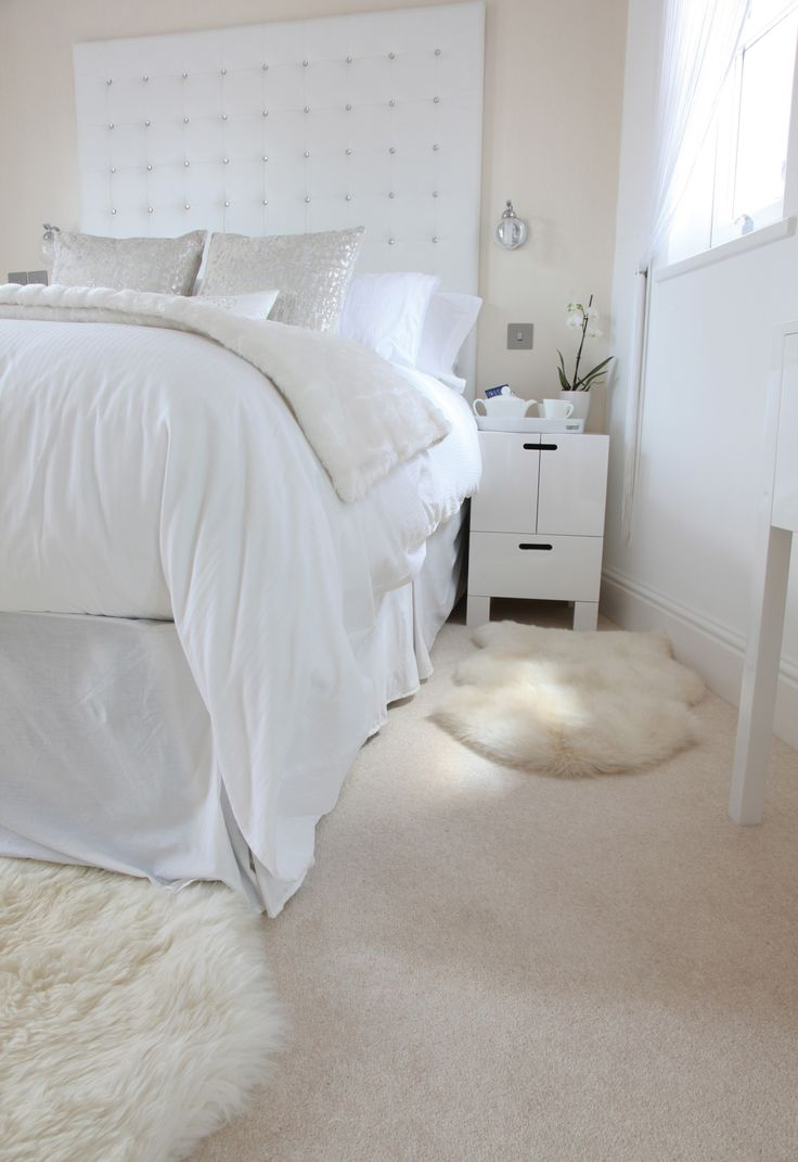 Exceptional White, Airy, Bright Bedroom With Beautiful Cream Carpet By Hardy Carpets.