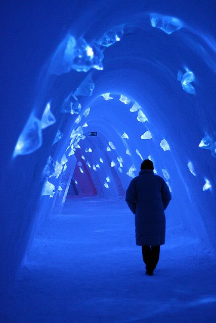 Frozen blue corridor at Levi Ice Hotel, Finland