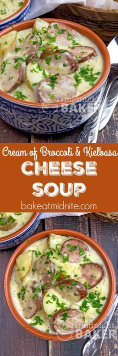 Cheesy cream of broccoli soup with the added kick of flavorful kielbasa. Quick and easy!