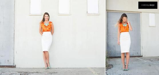 Janine top in Orange with Penny Skirt