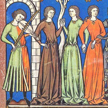 Musician with parti-colored dagged tunic entertains medieval ladies. 13th century (ca.1250) France, Paris, The Morgan Bible AKA Maciejowski Bible, Pierpoint Morgan Library