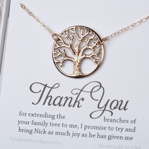 Thank your new mother-in-law for adding you to the family tree with this classic necklace. The design is something she'll be able to wear every day, and how cute is that saying?