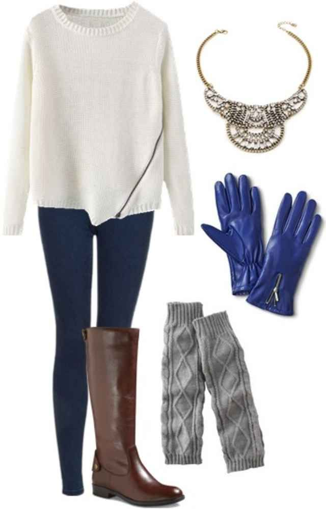 Jeans, white sweater, grey leg warmers, brown boots, blue gloves, statement necklace