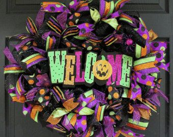 HalloweenHalloween Wreath Halloween Mesh by CherylsCrafts1 on Etsy