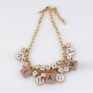 Alphabet And Scrabble Necklace