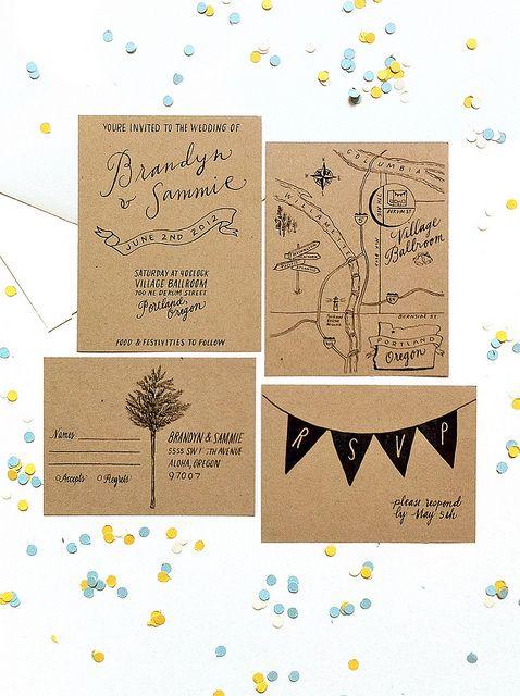 Hand lettered wedding invitation