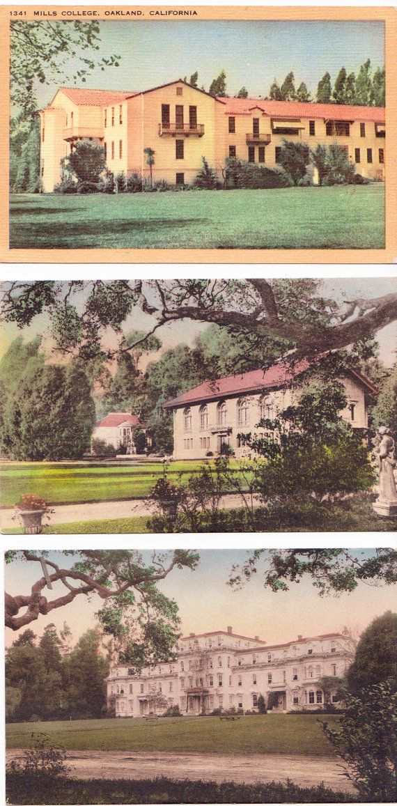 3 Vintage Postcards of Mills College Oakland by thecedarchest