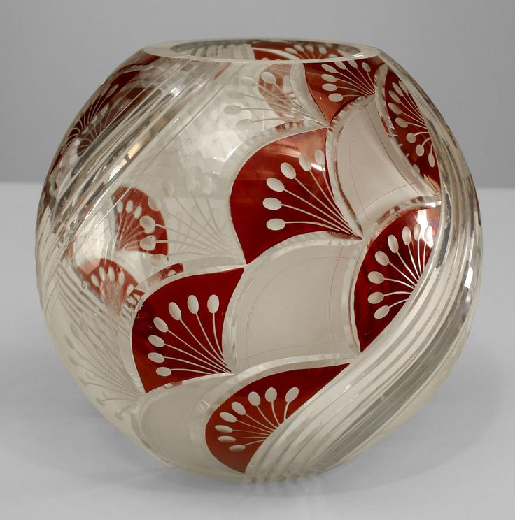 Art Deco Continental (Czechoslovakia) round vase with geometric cut glass design and ruby overlay trim