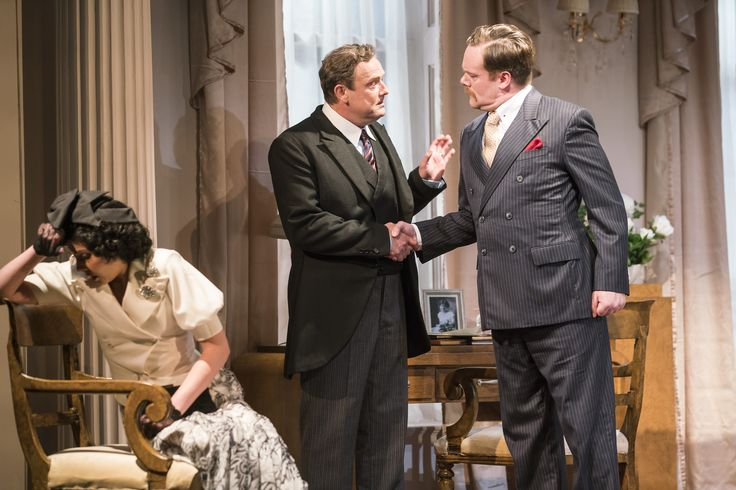 Caoimhe O'Malley as Marie-Louise Durham, Simon O'Gorman as John Middleton and Peter Gaynor as Mortimer Durham in The Constant Wife by W. Somerset Maugham at the Gate Theatre. Photo by Pat Redmond.